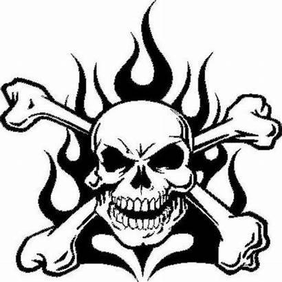 Skull Flames Crossbones Decal Vinyl Fire Sticker