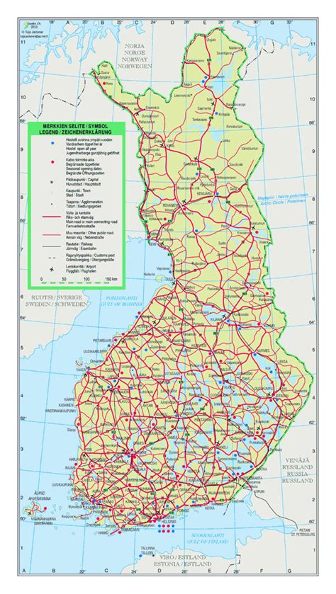 detailed road map  finland  cities  airports