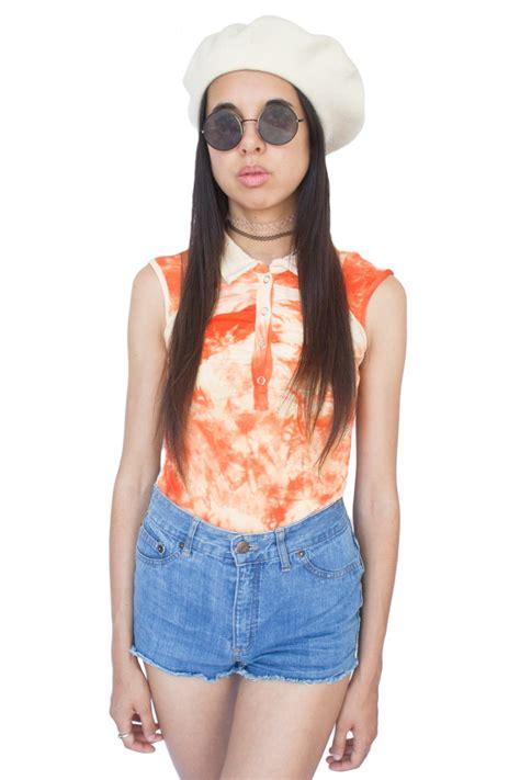 Vintage Y2k Orange Tie Dye Top S Adult World Shop
