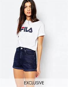 image 1 of fila oversized boyfriend t shirt with front With robe pull fila