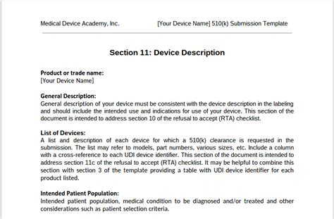 fda cover letter guidance template for 510k device description