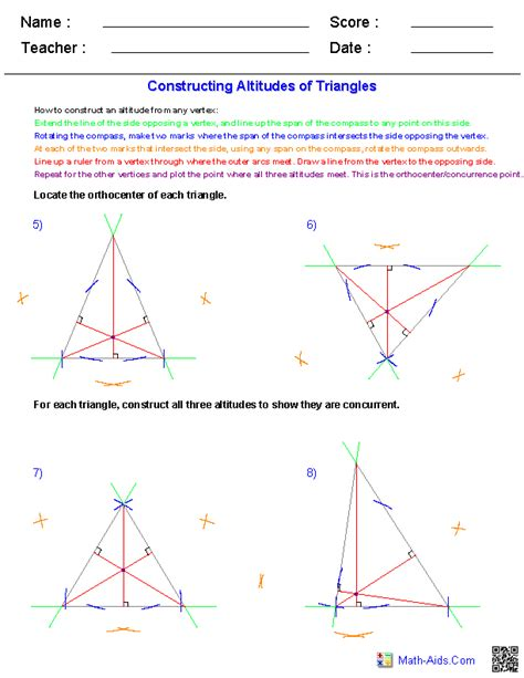 geometry worksheets constructions worksheets