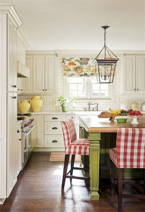 schumacher hothouse flowers spark fabric  roman shade country kitchen