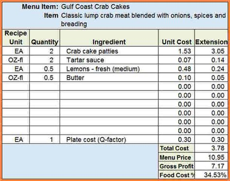 restaurant food cost spreadsheet excel spreadsheets