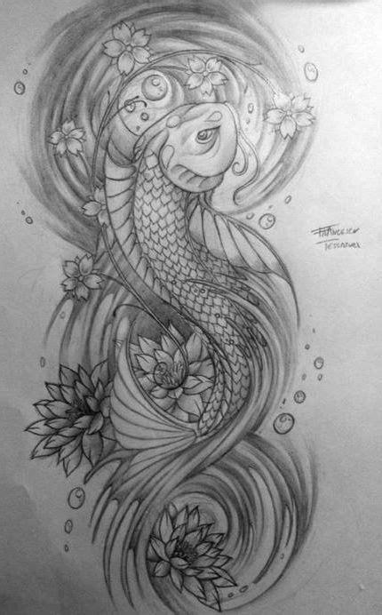 Japanese Flower Half Sleeve Drawing | japan fish and lotus