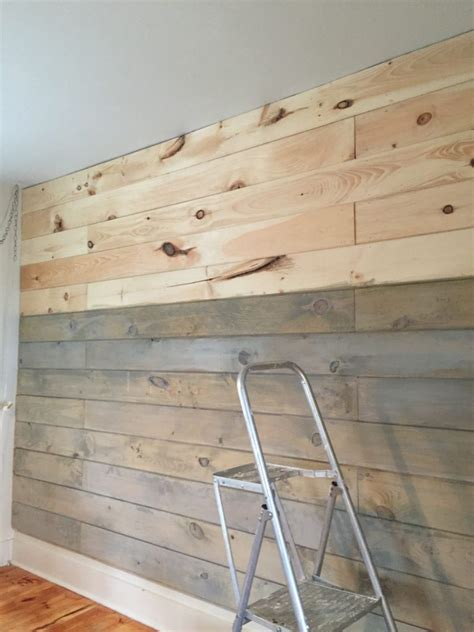 Stained Shiplap by How To Plank And Paint A Wall On A Budget Front Porch