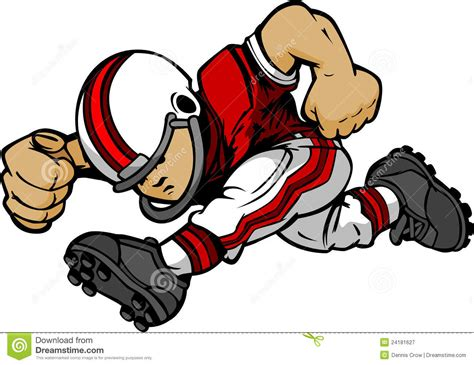 Kid Football Player Running Cartoon Stock Vector
