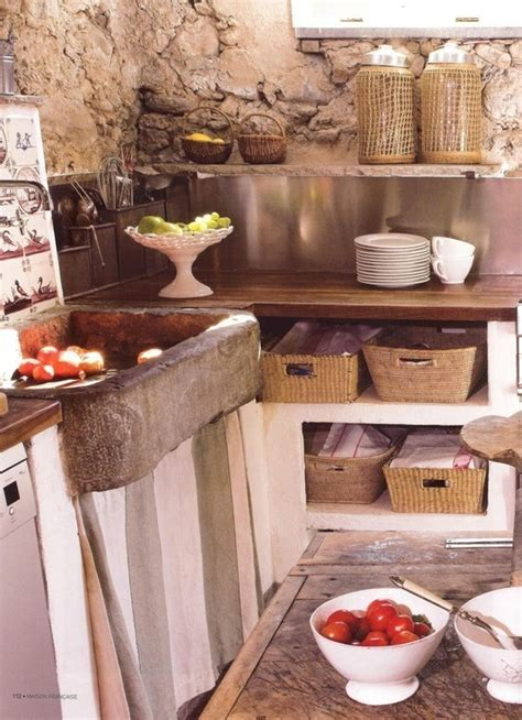 primitive kitchen with sink skirt open shelving and