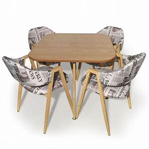 Table Et 4 Chaises Bois Et Tissu Journal LesTendancesfr