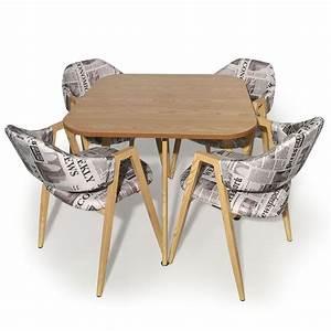 Table Avec Chaise Encastrable : table et 4 chaises bois et tissu journal ~ Teatrodelosmanantiales.com Idées de Décoration