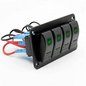 4 Gang Green Led Light Toggle Rocker Switches Combination