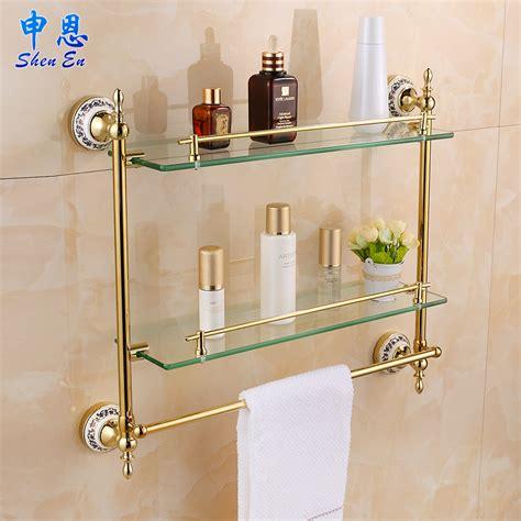 European Gilding Bathroom Shelf Toilet Glass Shelf Towel