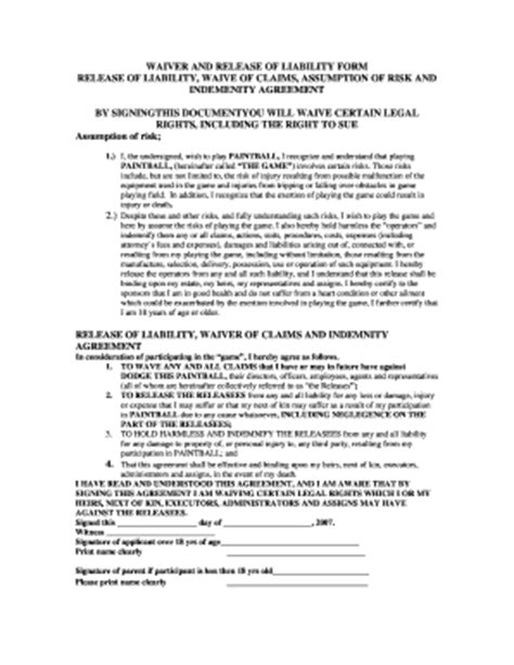 Tlpa Template by 32 Printable Release Of Responsibility Form Templates