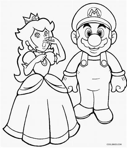 Peach Coloring Princess Pages Mario Super Printable