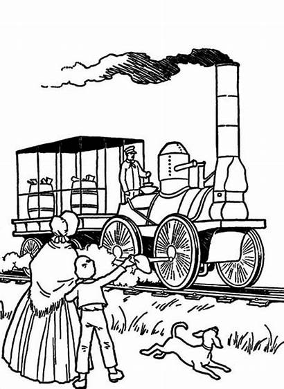 Steam Coloring Train Early American Pages Engines