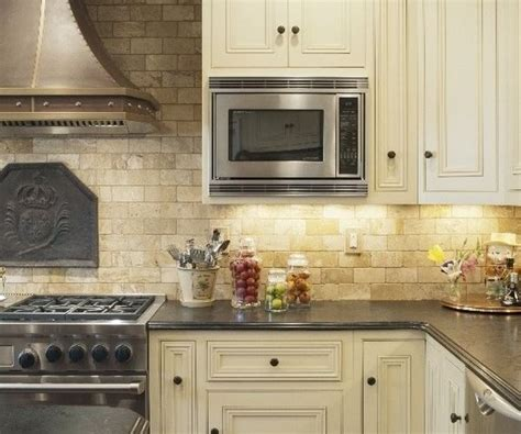 Kitchen Backsplash No Cabinets by Mediterranean Kitchen Design Travertine Backsplash White