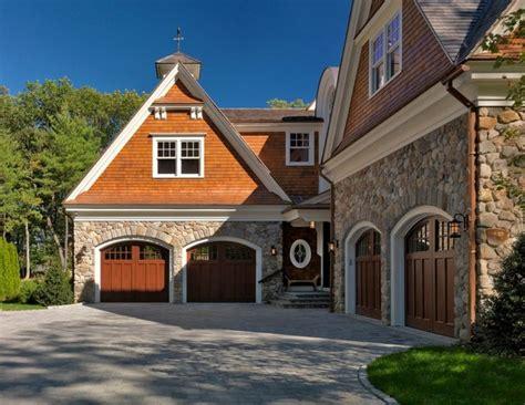 exterior cedar shakes  garage door cherry wood