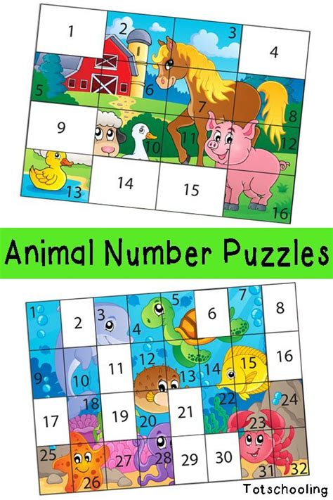 animal number puzzles  kids number