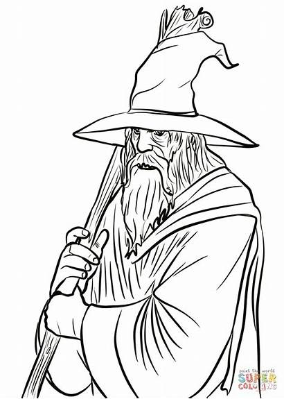 Gandalf Coloring Pages Lord Rings Drawing Lotr