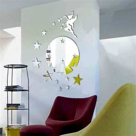 flying tinkerbell with wall mirror sticker kitchen acrylic mirror wall sticker
