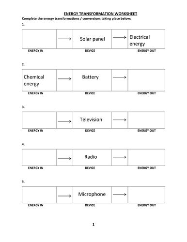worksheet 4 6 forms of energy answer key energy transformation worksheet with answer by