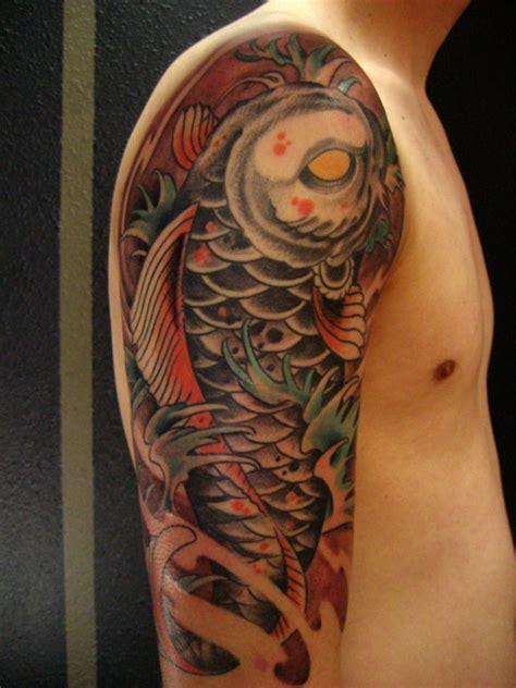 mens  sleeve color koi tattoo