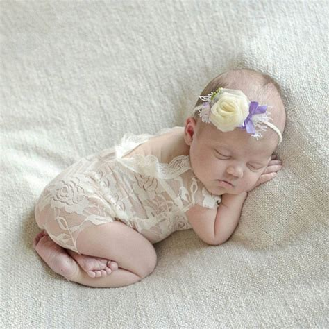 white lace romper baby girl newborn photography props
