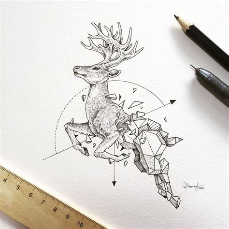 intricate drawings  wild animals fused  geometric