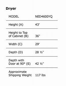 Clothes Washer Dimensions Chart Amana Traditional Electric Dryer With Automatic Dryness