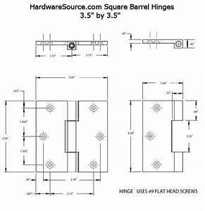 """Square Barrel Door Hinge, 4"""" x 4"""""""