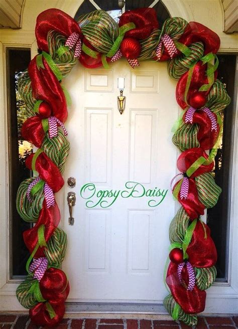 diy deco glitter mesh door garland  red balls