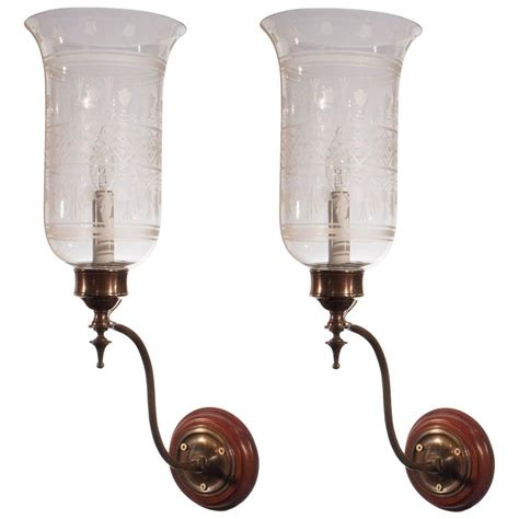 antique hurricane l shades pair of antique english hurricane shade wall sconces with