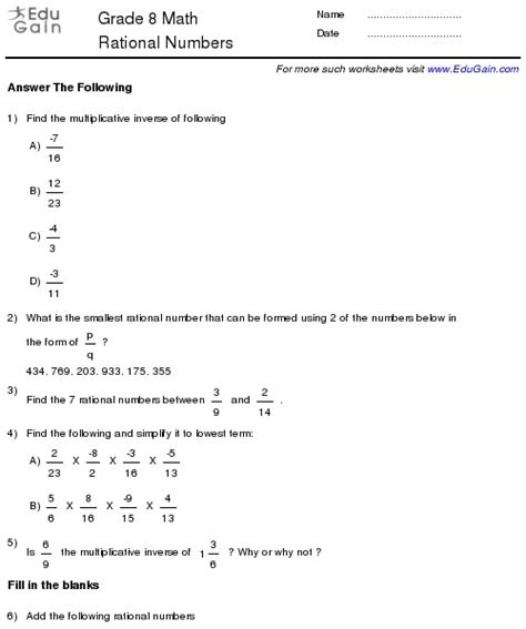 class 8 rational numbers worksheets grade 7 rational numbers pinterest rational numbers