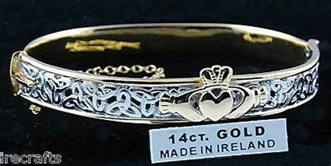 white gold sterling silver claddagh celtic knot bangle
