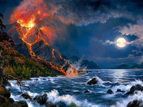 Eruption Of Volcano Sea Full Moon Fantasy Art Hd Wallpaper