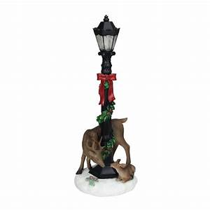 19, U0026quot, Led, Lighted, Black, Lamp, Post, With, Deer, And, Garland, Table, Top, Christmas, Decoration