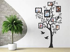 Baum An Wand Malen : wandtattoo foto baum mit fotorahmen und v gel ~ Frokenaadalensverden.com Haus und Dekorationen