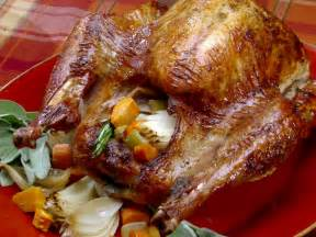 thanksgiving pioneer style herb roasted turkey recipe bobby flay food network