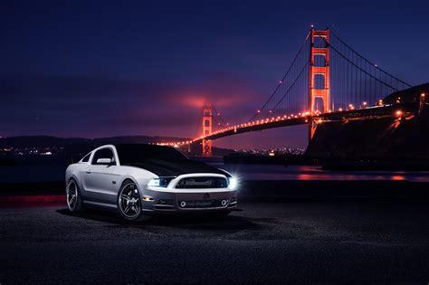 Wallpaper Ford Mustang Golden Gate Bridge Night