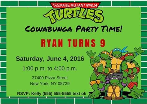 tmnt invitation template teenage mutant ninja