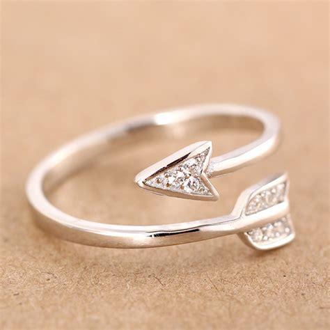 100% 925 Sterling Silver Fashion Cute Arrow Cockatil Rings