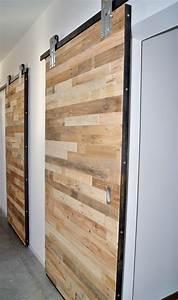 porte coulissante style industriel en bois de recuperation With porte coulissante style industriel