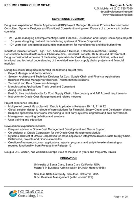 resume experience summary sle for free page