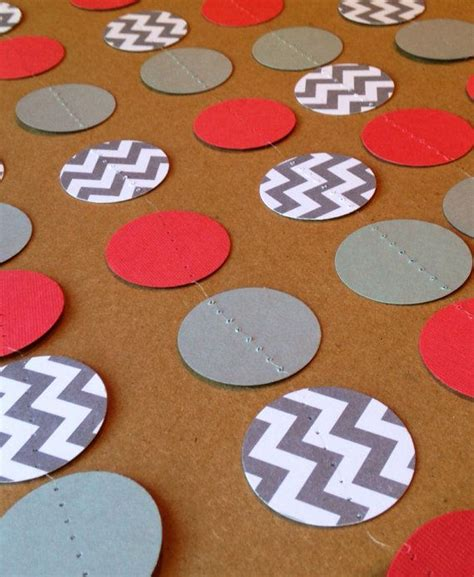 Coral And Grey Chevron Paper Garland Birthday Party Decor