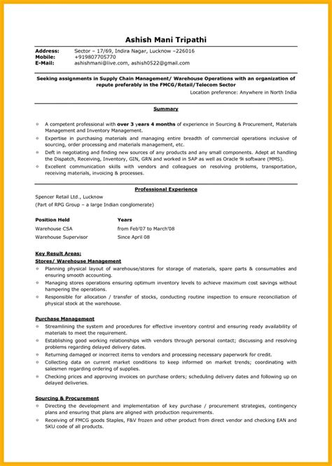 resume sle professional resume sle warehouse resume