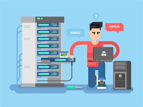 IT Specialist network flat illustration