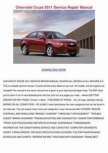 Chevrolet Cruze 2011 Service Repair Manual By Ashly