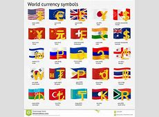 World Currency Symbols With Flag Icon Set Money Sign