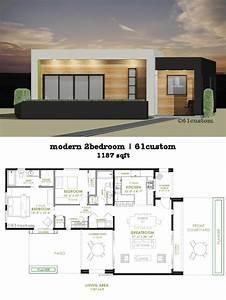 Modern, 2, Bedroom, House, Plan