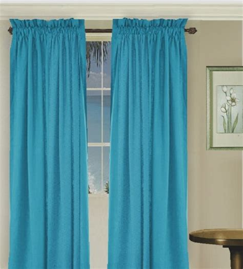 solid turquoise colored window long curtain